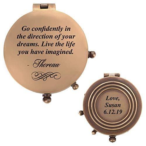 Personalized Pocket Compass (6 designs) - Inspirational Quotes Engraved on a Brass Compass - Gift for Graduation, Anniversary, Baptism, Retirement, or Christmas - Vintage Style Working Compass