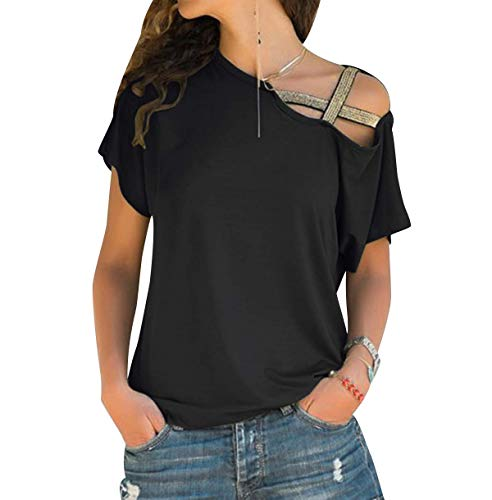 Camiseta Hombros Descubiertos Mujer Camisetas Lisas Sin Hombros Manga Corta Mujeres Oversize Anchas Tops Verano Casual Remeras Largas Damas Playeras Camisas Señora Blusas Amplias Negro XL