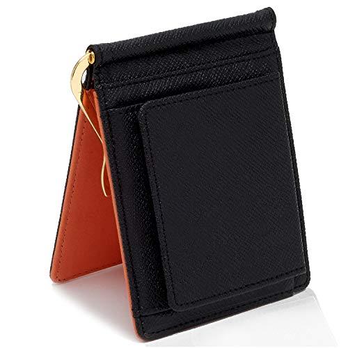 GRAV マネークリップ 小銭入れ付き メンズ 財布 二つ折り (ICカードポケット 隠しポケット付き) (ブラック オレンジ)