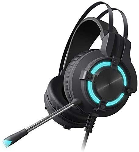 MZZYP Auriculares para Auriculares de Juegos 7.1 Auriculares Esports, Calidad de Sonido de 3,5 mm con micrófono, Auriculares Luminosa de Juego (Negro)