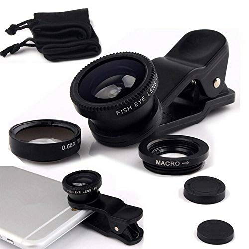 Kit 3 en 1 de lente de cámara para smartphone - Incluye lente ojo de pez, macro/gran angular 2 en 1 con clip universal + bolsa de transporte de microfibra