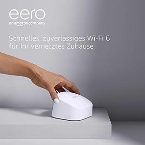 Das brandneue eero-6-Dualband-Mesh-Wi-Fi-6-System von Amazon mit eingebautem Zigbee Smart Home-Hub | 1er-Pack