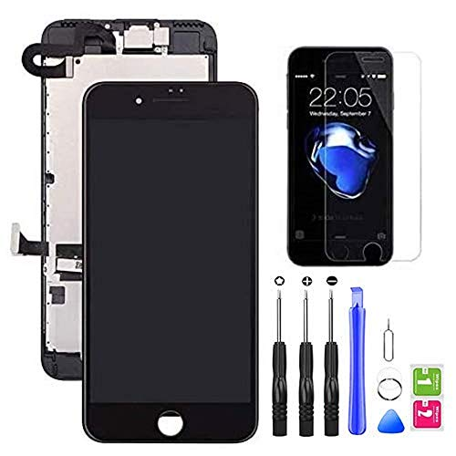 Hoonyer Display per iPhone 7 Touch Screen LCD Digitizer Schermo 4,7' Utensili Inclusi(con Fotocamera, Altoparlante, Sensore Flex) Nero