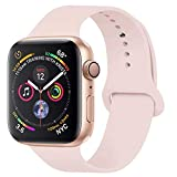 YC YANCH Compatible with for Apple Watch Band 38mm 40mm, Soft Silicone Sport Band Replacement Wrist Strap Compatible with for iWatch Series 5/4/3/2/1, Nike+, Sport, Edition, S/M, Pink Sand