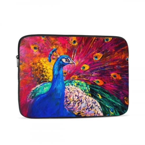 Funda para portátil para niñas Arte Abstracto Pluma de Pavo Real Colorida...