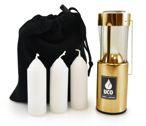 UCO Original Candle Lantern Value Pack with 3 Candles and Storage Bag, Brass, One Size (L-B-VPUCO)