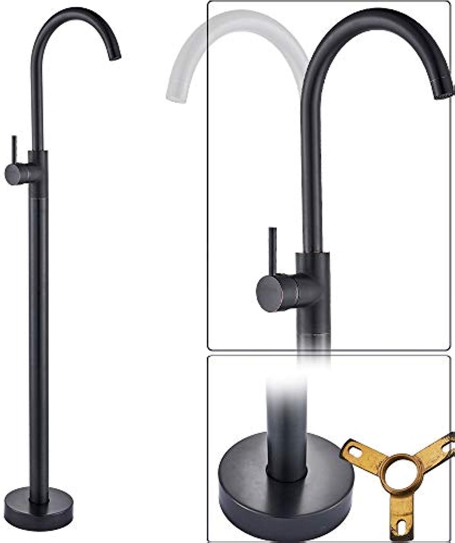 CZOOR Chrome Floor Stand Armaturen Einhand Messing Bad freistehende Waschbecken Mischbatterie mit drehbarem Auslauf Einlochmontage, Schwarzbronze