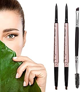 HeyBeauty 2 Pack of Eyebrow Pencil, Waterproof Eyebrow Makeup with Dual Ends, Professional Brow Kit with Eyebrow Brush, Light Brown