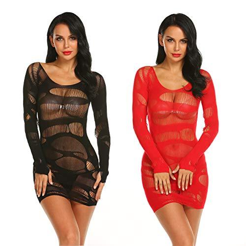 LOVELYBOBO 2-Pack Damen Kleid im Wetlook Spitzenkleid Tiefer Ausschnitt Rückenfreies Kleid Reißverschluss hinten Clubwear Partykleid