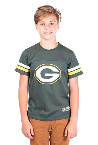 Ultra Game NFL Green Bay Packers Youth Mesh Vintage Jersey Tee Shirt , Team Color, 14/16
