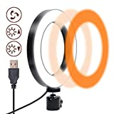 Anillo de Luz Led, Gemwon Ring Light Led Modo de 3 Luces 360 Grados Que Giran 6 Pulgadas USB Luz Anular Regulable para Fotografia, Maquillaje, Movil, Selfie, Transmisión en Vivo y Video de Youtube