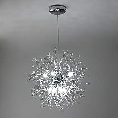 Modern Crystal Firework Chandelier, Chrome Finished 8-Lights Modern Ceiling Pendant Lighting Fixture for Dining Room, Kitchen Island, Living Room