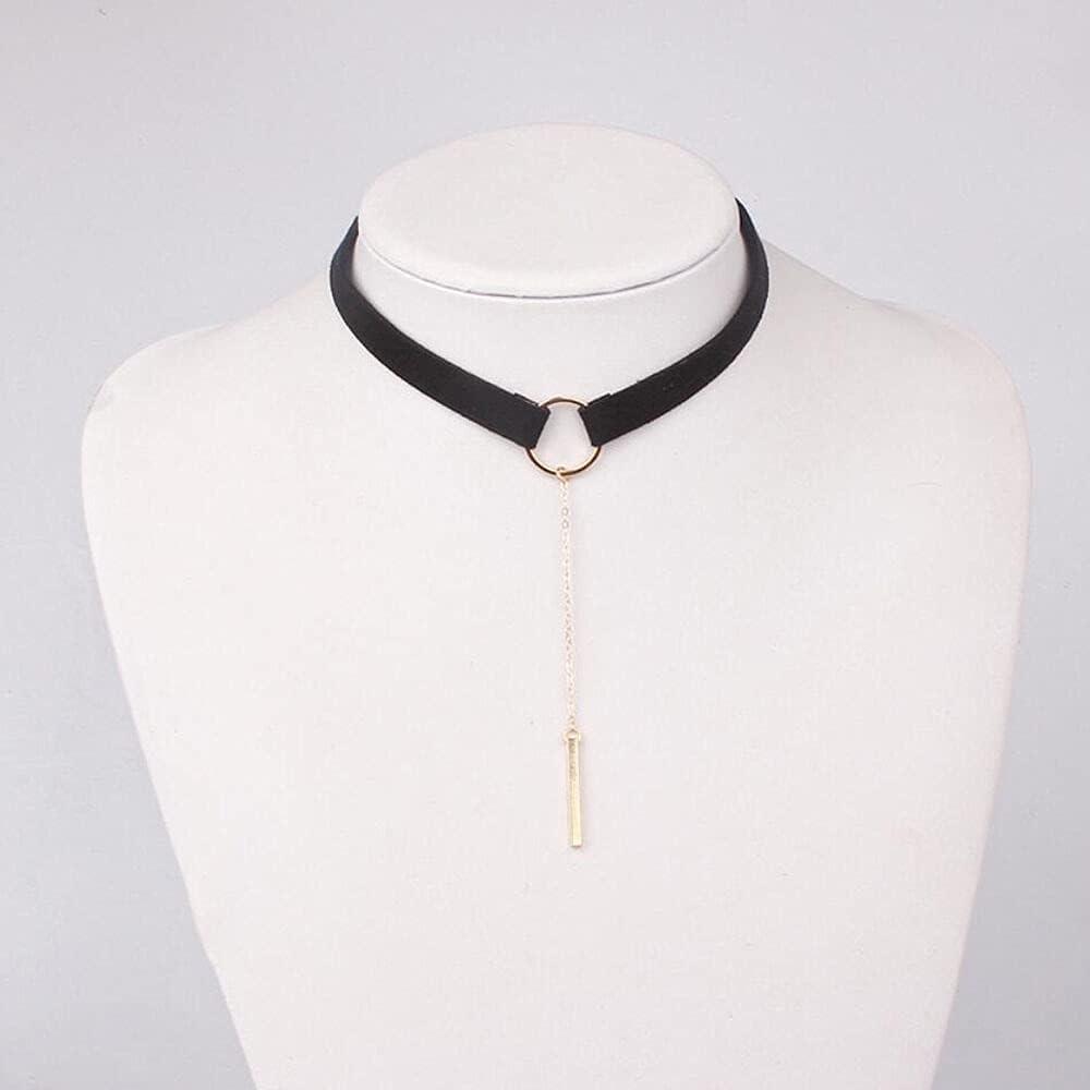 Womens Lady Leather Necklace Bib Choker Collar Statement Pendant Chain Jewelry - Black+Gold