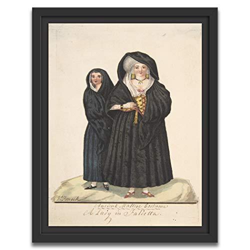 Printed Paintings Marco Americano (30x38cm): Vincenzo Feneck - Disfraz de maltés Antiguo, una Dama en Faldetta