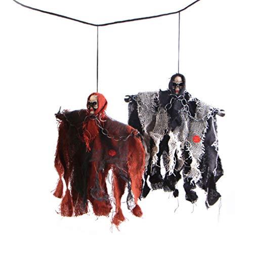 NUOBESTY 2pcs Halloween Schädel Dekoration animierter hängender Grim Reaper mit Schädel und Kettenfesseln für die gruseligste Dekoration zu Halloween