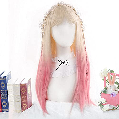 CJCSM Pelucas de Mujer, Pelucas Rectas largas de Color Rosa Degradado Rubio Platino con Flequillo, Pelucas esponjosas de Lolita para Fiesta de Cosplay para niñas