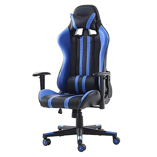 HAOSHUAI Gaming Stuhl, Heimspiel Stuhl Sitz Drehstuhl Liegestuhl Bürostuhl-Pink, (Farbe: blau) (Color : Blue)