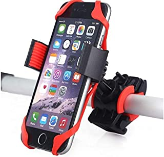 Bike Mount Phone Holder, Universal Adjustable Bicycle Motorcycle Phone Holder, Compatible with all type of iPhones Xs Max XR X 8 7 6 5 Plus Samsung Galaxy S9 S8 S7 S6 S5 Note 9 8 7 6 (red&black color)