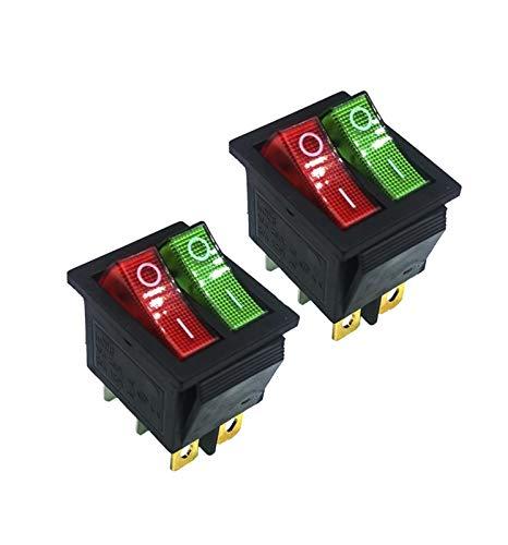 QHMDZ Interruptor basculante 2 PCS/Lote KCD4 31 * 25mm Red/Verde LED Pies de Cobre 6pin DPDT Boat Rocker Interruptor de balancín en el Interruptor de posición de complemento 16A 250V Luz