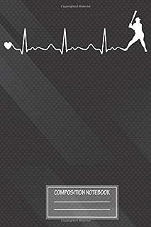 Notebook: Funny Baseball Baseball Heartbeat Pulse , Journal for Writing, Size 6