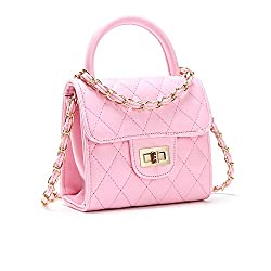 Pinky Family Fashion Kids Toddler Handbags PU Leather Crossbody Bags Gifts for Girls (White)