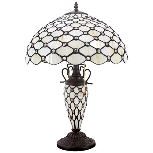 Tiffany Style Table Lamp W16H24 Inch Tall Amber Stained Glass Crystal Pear Bead Lampshade Antique Night Light Base S005 WERFACTORY Lamps Lover Living Room Bedroom Office Reading Desk Nightstand Gifts