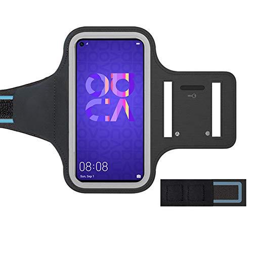 ZLFTYCL - Brazalete deportivo para Huawei Nova 5T, delgado, suave para la piel, ajustable con el llavero y el auge de los auriculares, es perfecto para hacer jogging, gimnasio (negro).