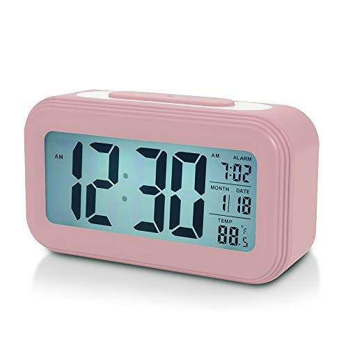 Battery Digital Alarm Clock for Bedroom, 4.5' LCD Display Bedside Alarm Clock with Snooze, Backlight, Night Light, Date and Temperature, Sleep Timer for for Heavy Sleepers, Elderly, Teens (Pink)