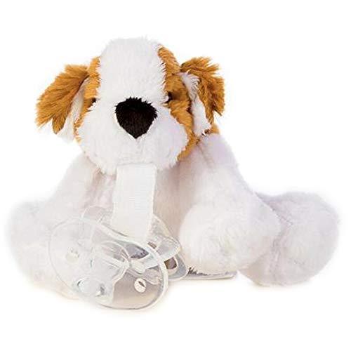 Kuscheltier Hund mit Schnuller (0-6 Monate) ultra soft, perfektes Geschenk für Neugeborene und Babys, Schnullertier