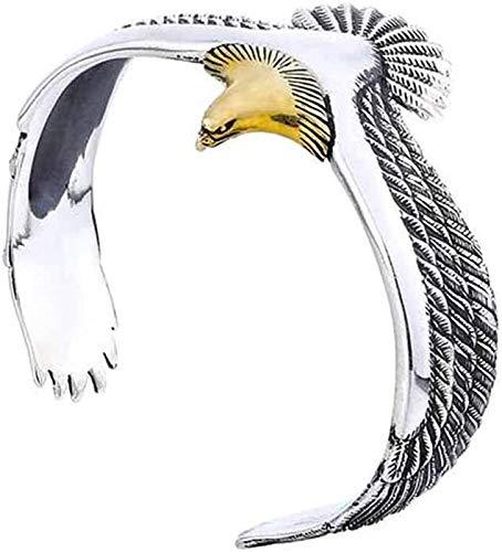 youfenghui S925 SterlingSilver Eagle Cuff Bracelet - Sterling Silver Cuff Bracelets Adjustable Bangles for Men and Girls - Fashion Vintage Retro Rock Punk Bangle (1pcs)