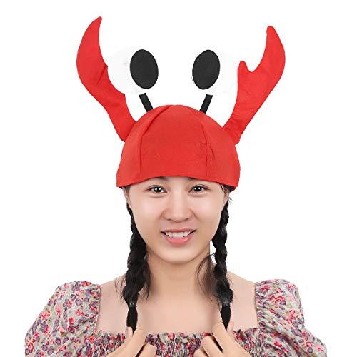 iiniim 3D Hummer Langusten Hut Krebs Hut Krabben Krebs Mütze lustige Kopfbedeckung für Kostüm Karneval Halloween Fasching Rot B Einheitsgröße