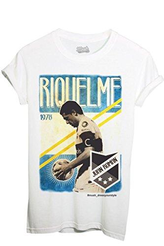 maglia argentina MUSH T-Shirt RIQUELME Argentina Vintage Calcio - Sport by Dress Your Style - Uomo-L-Bianca