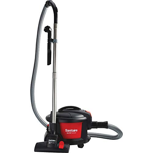 Sanitaire SC3700A Quiet Clean Canister Vacuum, Red/Black, 9.0 Amp, 11' Cleaning Path.