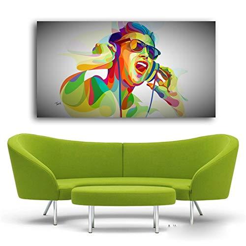 Frameloos Nieuwe Big Size Canvas schilderij POP Art Abstract kleurrijke DJ Boy Wall Art afdrukken voor woonkamer Home Decor <> 40x70cm