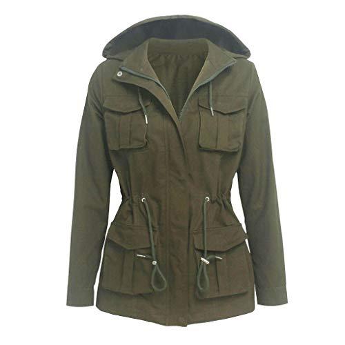 Great Deal! Women Hood Anorak Jacket Camouflage Zipper Drawstring Coat Casual Lightweight Military O...