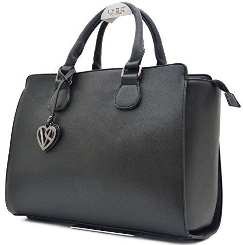Vain Secrets Damen Handtasche mit Schulterriemen gesteppt oder in Saffiano Prägung (Schwarz Saffiano)