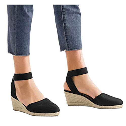 Hosamtel Wedges Sandals for Women Wide Width Straw Bottom Elastic Ankle Strap Comfortable Breathable Weaving Shoes