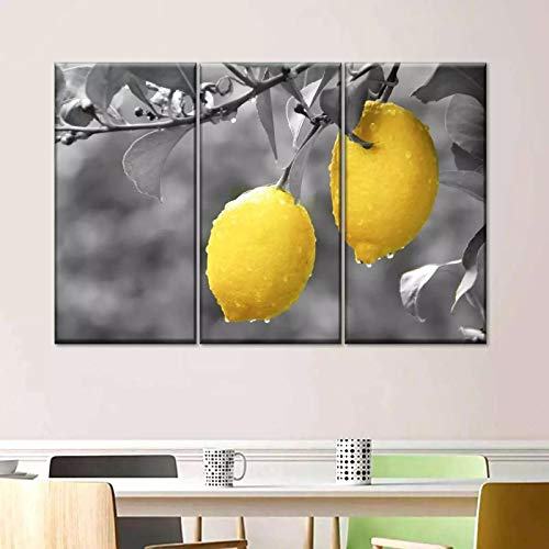 Domrx Impresión en Lienzo Carteles e Impresiones Moderno de Color Pintura en Lienzo Amarillo Arte de la Pared Imágenes de Frutas para la decoración de la Cocina Sala de estar-40x60cm Sin Marco
