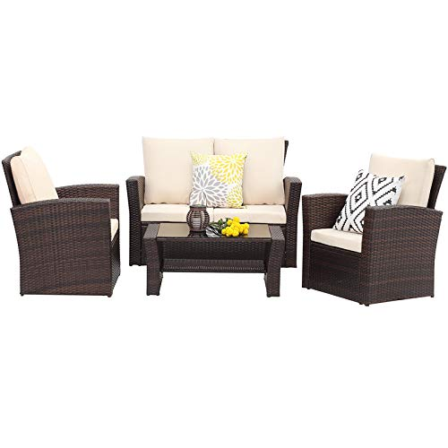 Wisteria Lane 4 Piece Outdoor Patio Furniture Sets, Wicker Conversation Set for Porch Deck, Brown Rattan Sofa Chair with Cushion