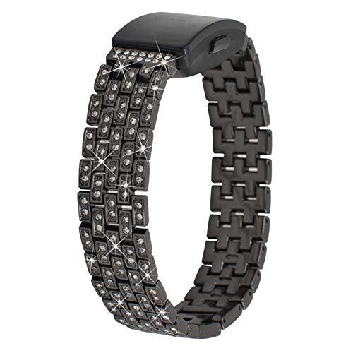 Miya System Ltd Cinturino Compatibile con Inspire HR, Cinturino in Acciaio Inossidabile per Orologio con Strass Bling Cinturino di Ricambio per Inspire/Inspire HR/Ace 2 (Nero)