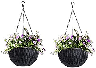 AASHU Self Watering Hanging pots for Plants Balcony,pots for Indoor,pots for Outdoor Plants (8.5 inch,-Color- Dark Brown) ...