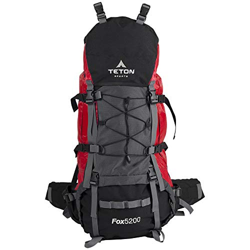 "TETON Sports Fox 5200 Internal Frame Backpack; High-Performance Backpack for Backpacking, Hiking, Camping Mars Red, 34"" x 16"" x 13"""