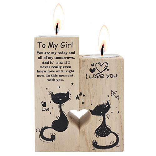 TAECOOOL Holzleuchter, DIY herzförmige Paar Kerzenhalter, Tischdekoration Kerzen als Geschenke für Frau Freundin Geburtstag Valentinstag Jubiläum (MÄDCHEN)
