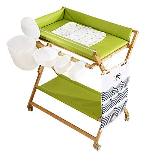 LXDDP Table à Langer avec Baignoire à roulettes, Station de Stockage Pliable Filles garçons pour Salle de Bain/Commercial/Toilettes/Garderie, 0-3 Ans
