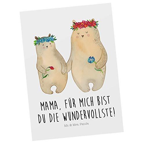 Mr. & Mrs. Panda Karte, Geschenkkarte, Postkarte Bären mit Blumenkranz mit Spruch - Farbe Weiß