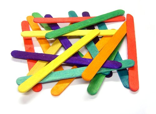 Jumbo lolly or lollipop sticks Pack of 100 - mixed colours