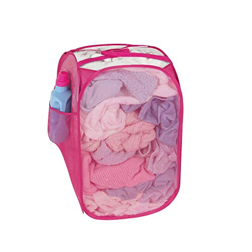 Smart Design Pop-Up Laundry Hamper w Easy Carry Handles Side Pocket - Durable Mesh Fabric - Collapsible Design - for Clothes Laundry - Home Organization Holds 2 Loads 13 x 21 Inch Pink