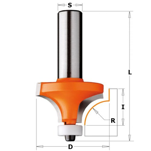 Cmt - 980.505.11 - hw solid surface round over router bit w/bearing s=12 d=28,7x15x62,5 r=8