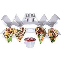 プレミアムステンレススチールタコスホルダーラック – 食品グレード & 耐久性 タコスディッシュ スタンドアップサービングトレイ ホーム/キッチン/レストランパーティーに | 頑丈なシェルモールド タコス/火曜/メキシコのお祝いに