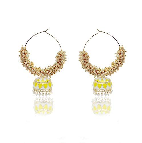 Moonstruck Traditional Indian Golden Minakari Jhumka Earrings With Stone And Pearls for Women (Pink) (Yellow)